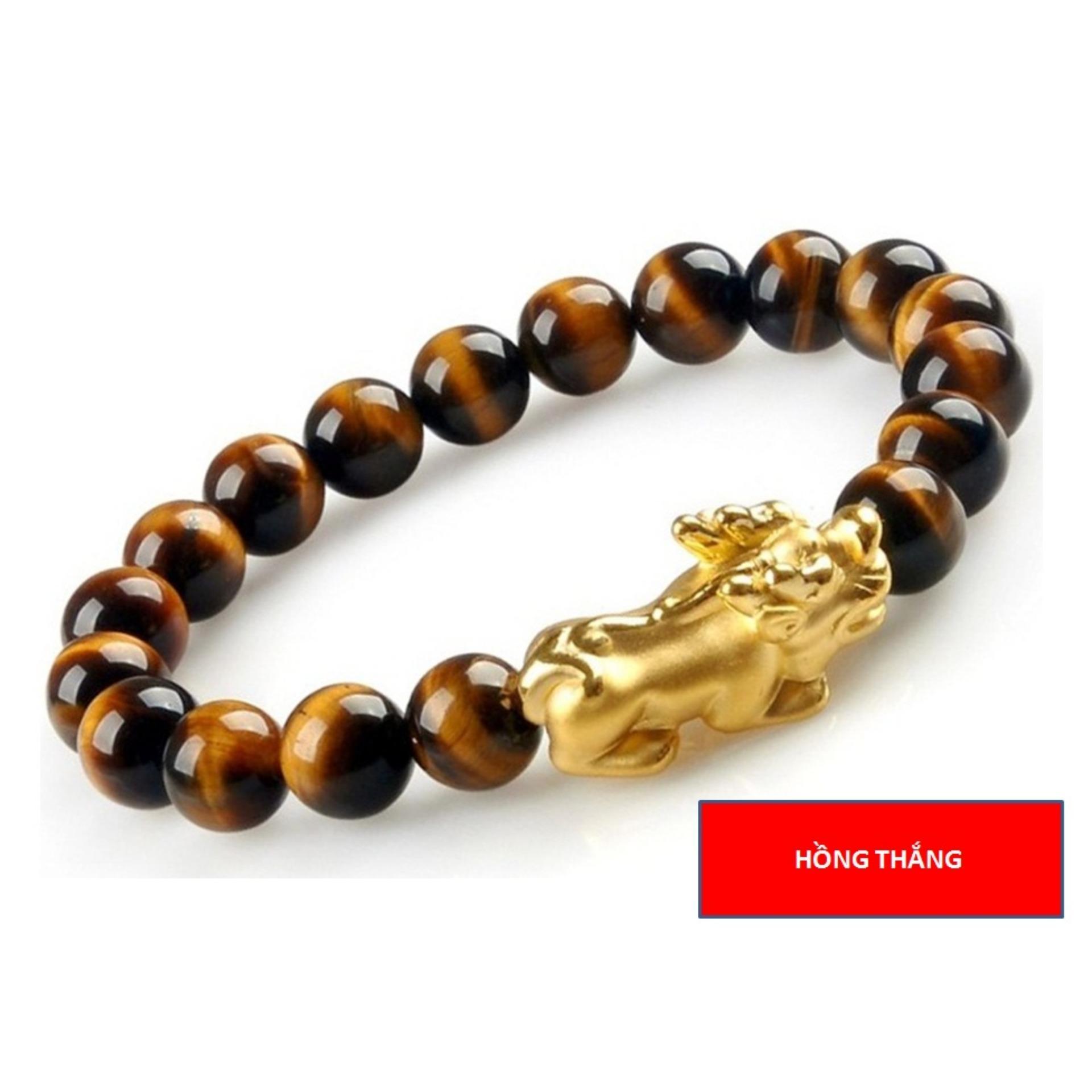 Cập Nhật Giá Vòng đeo tay mắt hổ vàng tỳ hưu 12 li – Phong thủy may mắn phát tài