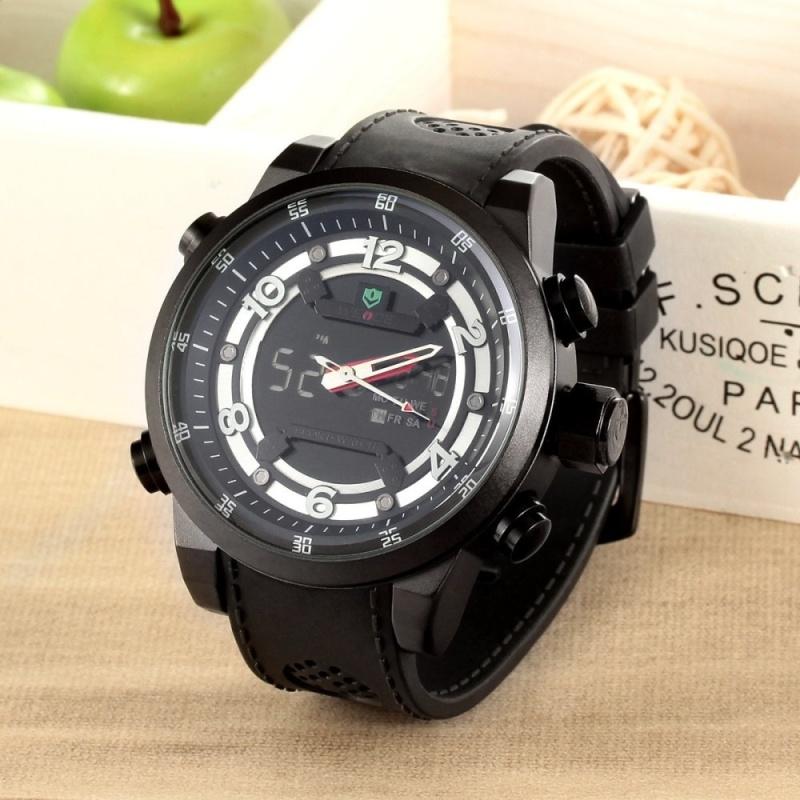 Đồng hồ đeo tay nam WEIDE WH3315  chống nước màn hình LCD kỹ thuật số có báo thức / Màu trắng sáng (1 x LR626) - intl bán chạy