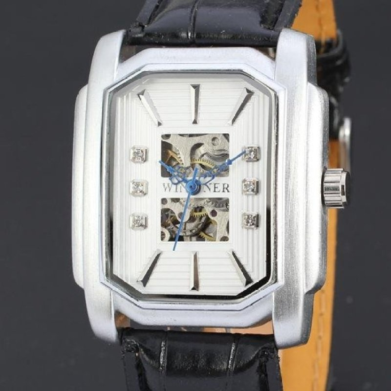 Nơi bán Winner Brand Square Men Casual Business Automatic Mechanical BeltLeather Watch(White) - intl