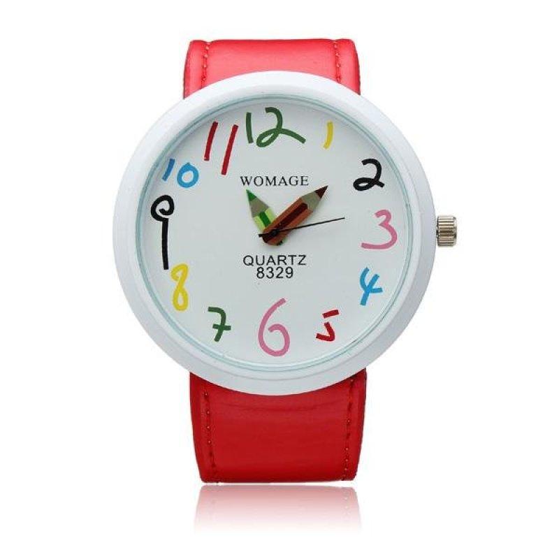 Womage Children Big Pointer Pencil Quartz Wristwatch Red Leather 010 - intl bán chạy