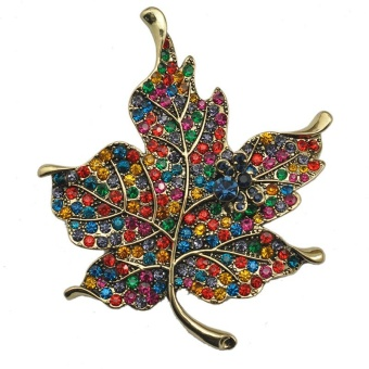 Women Crystal Rhinestone Maple Leaf Brooch Pin for Wedding Birthday Gift - intl