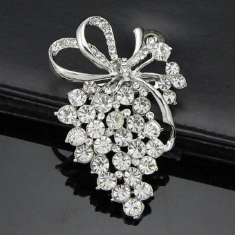 Women Rhinestone Brooch Crystal Flower Brooch Pin - intl