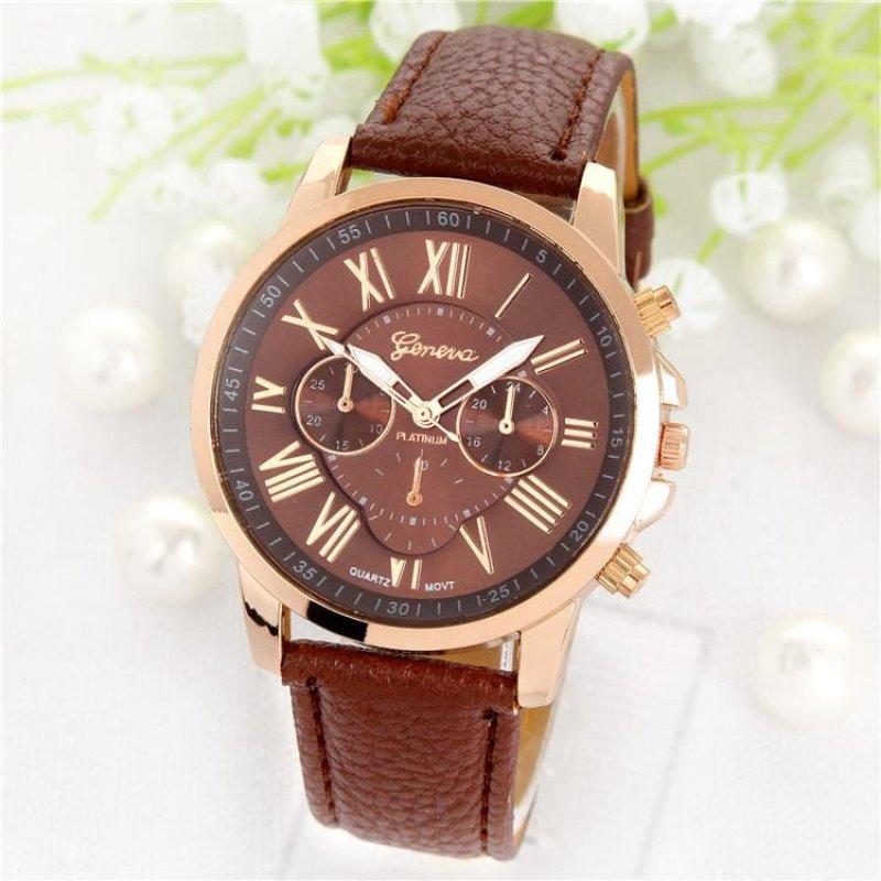 Nơi bán Đồng hồ thời trang nữ Geneva, Đồng hồ số La Mã xài pin dây da (Màu xanh lá đậm) - intl