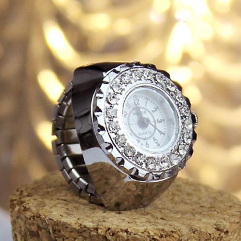 Nơi bán YBC Fashion Women Crystal Ring Watch Steel Stretchy Quartz Watches Gifts - intl