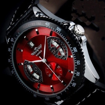 YBC Men Sports Leather Automatic Mechanical Analog Wrist Watch Red- intl