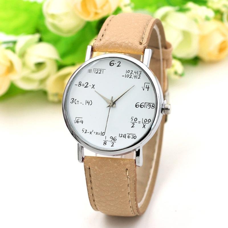 Nơi bán YBC Women Fashion PU Leather Band Quartz Watch Mathematical Symbols Casual Wristwatch - intl