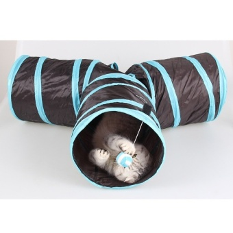 YKK Pet Cat Dog Collapsible 3 Way Pet Crinkly SoundsAgilityTrainTunnels and Tubes Toy - intl