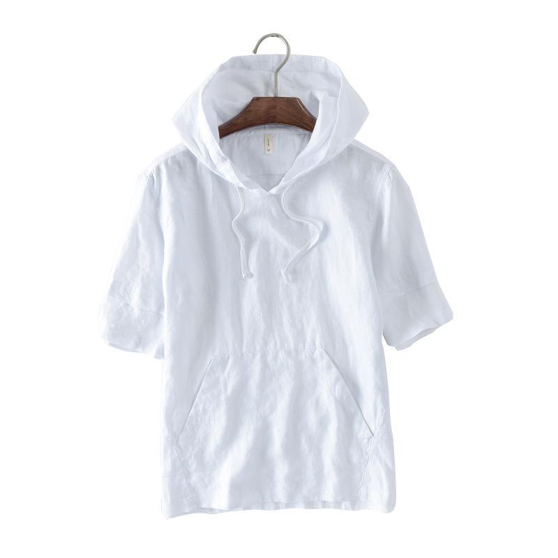 Gaya Jepang Bening Sepatu linen lengan pendek Kaos Sweater Pria casual berkerudung putih .