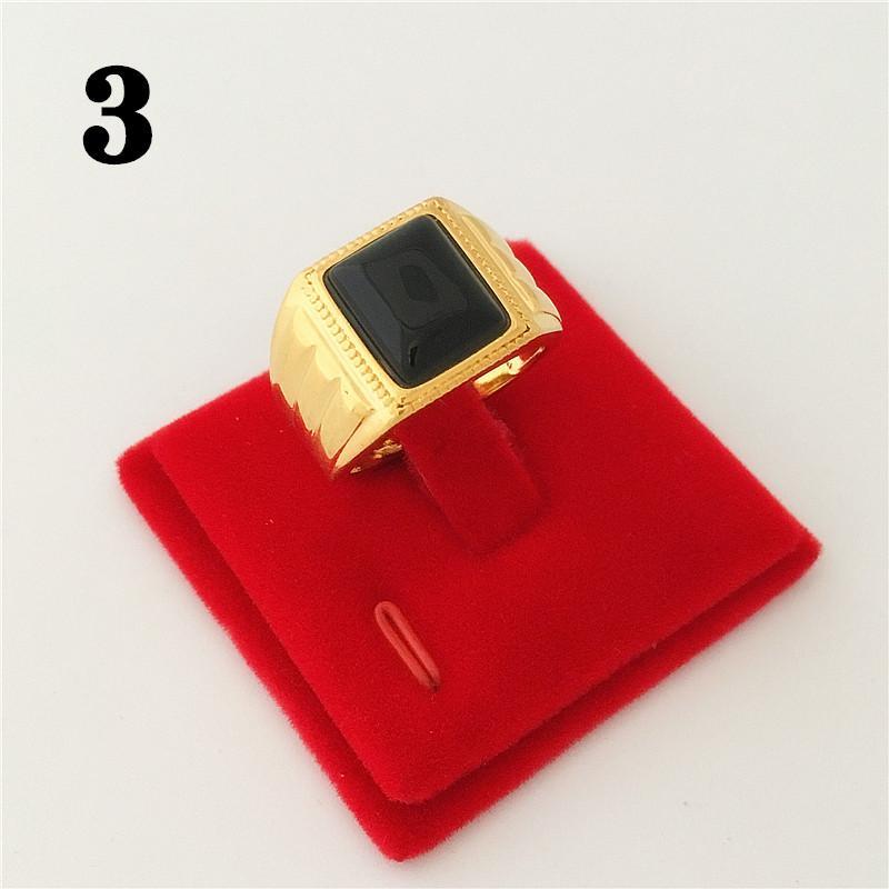 24 K Kuningan berlapisan emas imitasi Endapan Emas Permata Cincin pria Domineering Daikin Cincin Bisa Digerakkan