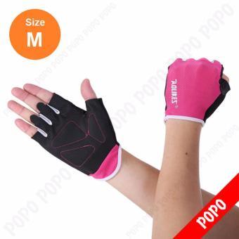 Găng tay tập GYM, mềm mai ôm cổ tay (PINK-M) găng tay nâng tạ, găng tay xe đạp độ bám cao, thoáng khí, thoát mồ hôi, mềm mại POPO Sports